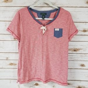 Ralph Lauren red and white striped nautical tee